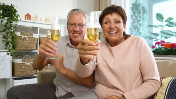 Thumbnail for Elderly Couple Connected with Friends Using Laptop Video Call Camera and Drinking Champagne