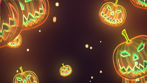 Thumbnail for Neon Halloween Pumpkin Background