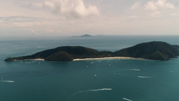 Thumbnail for Thailand Coral Island Drone Shot View of the Island From a Height of 500 Meters Above Sea Level