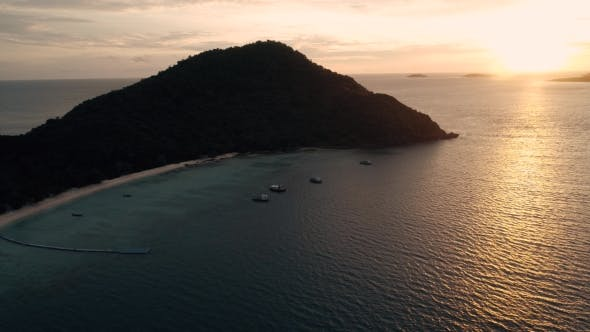 Thumbnail for Thailand Coral Island Drone Shot Beautiful Sunset on the Island