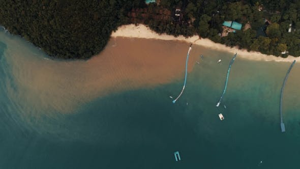 Thumbnail for Thailand Coral Island Drone Shot Water Dyed in the Color of Sand After Tropical Rain Mingles with