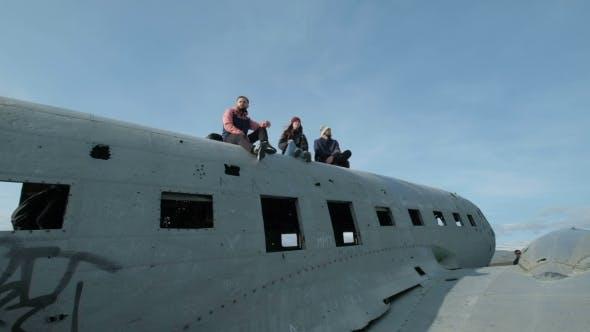 Thumbnail for People Exploring Airplane Wreckage Vestur-Skaftafellssysla, Iceland