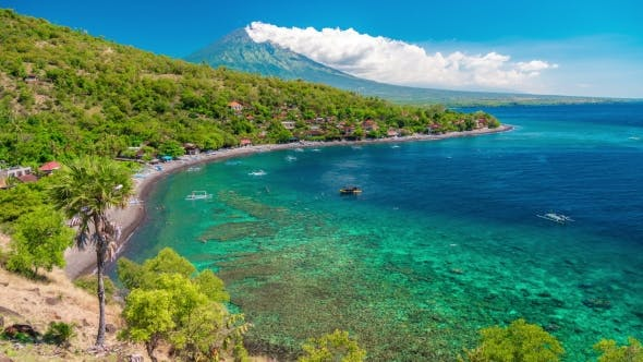 Thumbnail for the Boats Floats in the Bay Amed on Background Agung Volcano in Bali, Indonesia