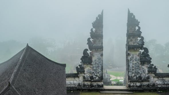 Cover Image for Fog at the Gates of the Lempuyang Temple in Bali, Indonesia
