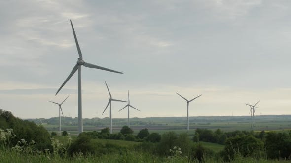 Thumbnail for Wind Turbines Isolated on Overcast Sky Background