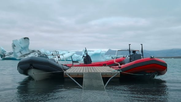 Thumbnail for Two Speed Rubber Boats Are Ready for Tour Among Icebergs in Jokarlson Glacier Lagoon in Iceland