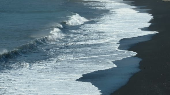 Thumbnail for Black Sand Volcanic Beach with White Sea Foam in Azores Islands.