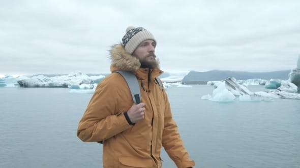 Thumbnail for Portret Bearded Man in Arctic Iceland