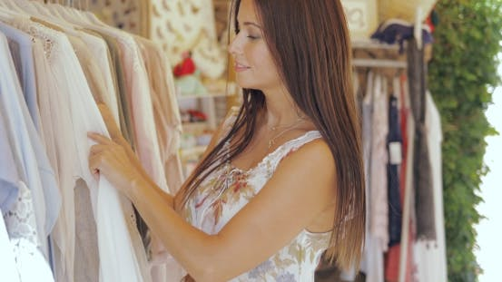 Girl Shopping in Boutique