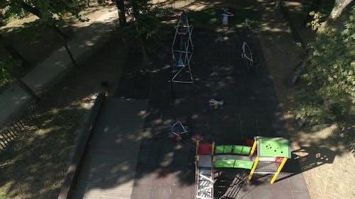 Corona Virus. Disabled Children Playground Aerial View