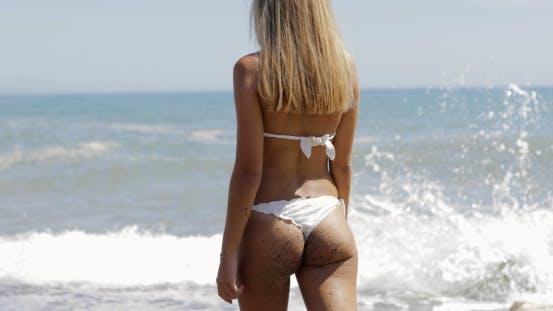 Anonymous Sexual Model in Bikini on Beach
