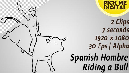 Thumbnail for Spanish Hombre Riding a Bull