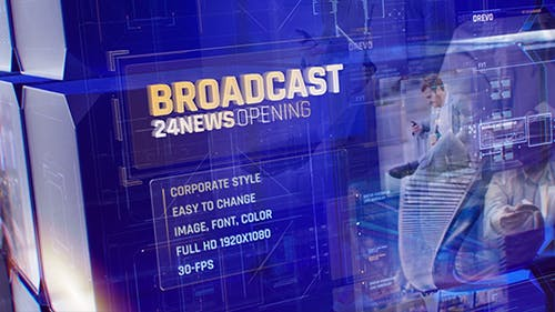 Broadcast 24 News Opening Id/ Business and Corporate Meeting/ Glass Cube Intro/ HUD UI Breaking News
