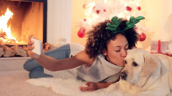 Thumbnail for Cute Young Woman Taking a Selfie with Her Dog