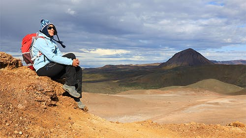 Girl Enjoys Stunning Views of Icelandic Landscapes