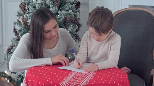 Thumbnail for Happy Mother and Her Son Writing Letter To Santa