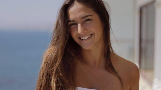 Thumbnail for Pretty Girl on Vacation Posing at Camera