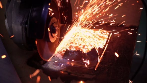 Thumbnail for Cutting Metal with Disc Grinder with Bright Sparks