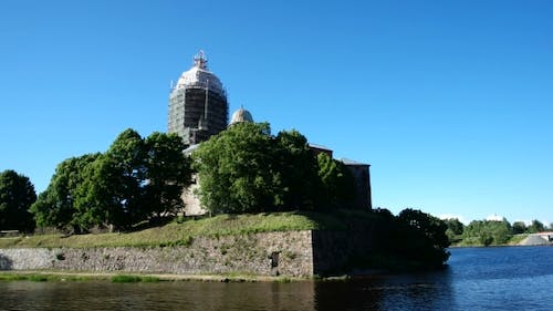 Vyborg Castle Medieval Swedish Castle with St Olav Tower During Reconstruction Summer Day in in