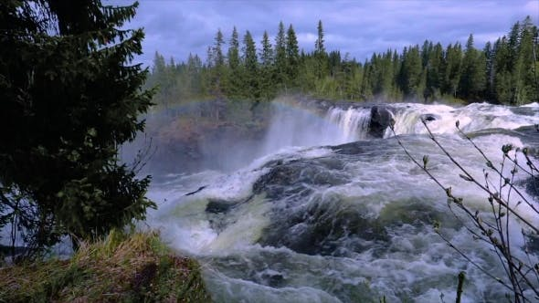 Thumbnail for Video Ristafallet Waterfall in the Western Part of Jamtland