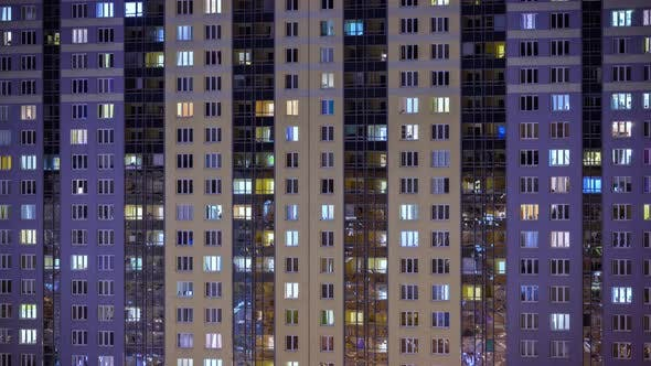 Thumbnail for night window timelapse. architecture of the night city, urbanistic view of the building