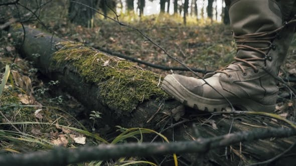 Thumbnail for Men's Shoes in Autumn a Man Tied a Lacing on Boots in the Woods