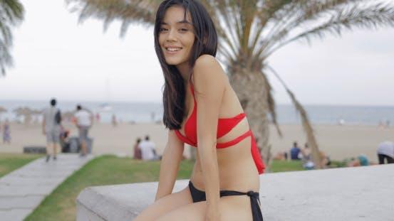 Thumbnail for Charming Girl Posing in Bikini on Beach