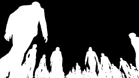 Thumbnail for White Silhouettes of People Walking