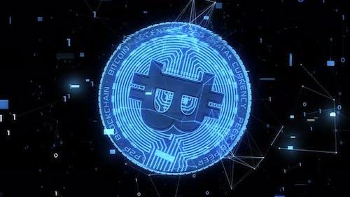 Bitcoin Digital Glitch Screen