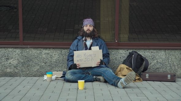 Thumbnail for Poor Unemployed Man Begging in Street
