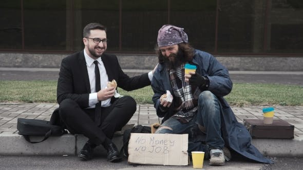 Thumbnail for Businessman Communicating with Homeless