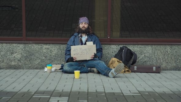 Thumbnail for Homeless with Cardboard on Street