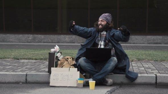 Thumbnail for Funny Homeless Beggar Winning a Fortune Online
