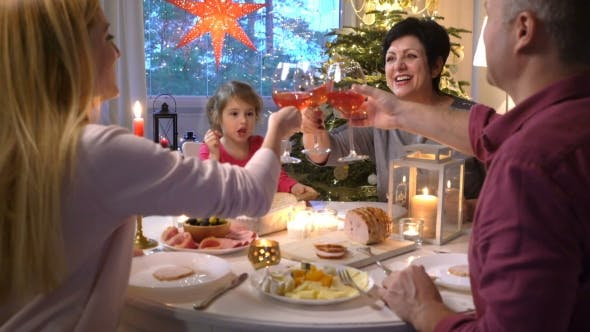 Thumbnail for Family at the Festive Table with Wine Glasses