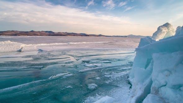 Thumbnail for Icebergs During Sunset in Glacier Lagoon on Lake Baikal