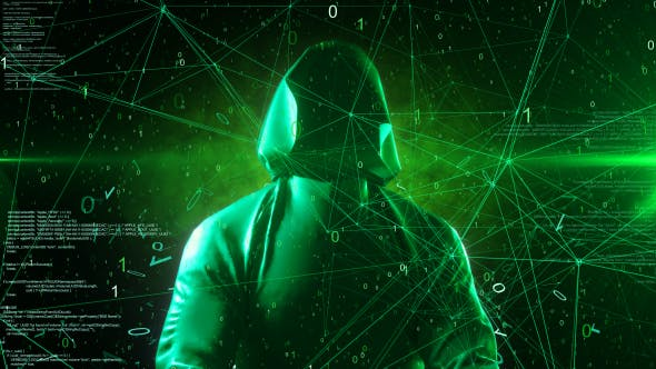 Thumbnail for Anonymous Hacker In Hoodie Green Digital Source Code Computer Space