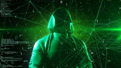 Anonymous Hacker In Hoodie Green Digital Source Code Computer Space 4K