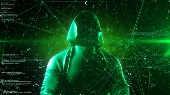 Anonymous Hacker In Hoodie Green Digital Source Code Computer Space 4K