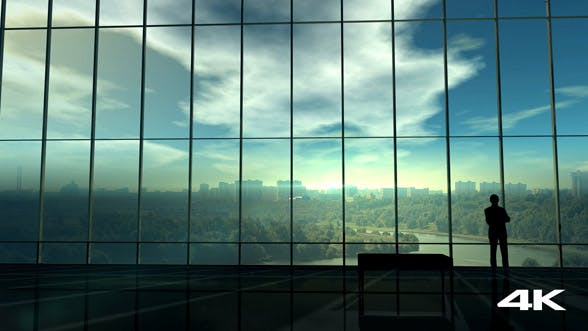 Thumbnail for Silhouette Of A Businessman Against The Huge Office Window