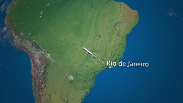 Thumbnail for Route of Commercial Airplane Flying From Rio De Janeiro To San Francisco on the Earth Globe