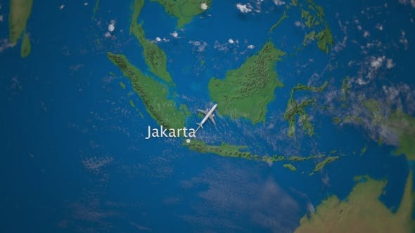 Thumbnail for Route of Commercial Airplane Flying From Jakarta To Tokyo on the Earth Globe