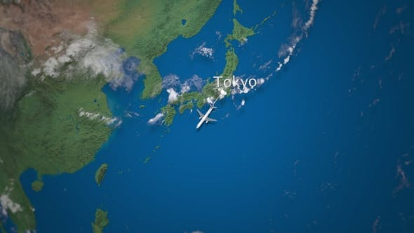Thumbnail for Route of Commercial Airplane Flying From Tokyo To Jakarta on the Earth Globe