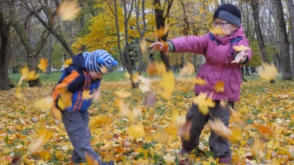 Children Playing in the Nature in Autumn
