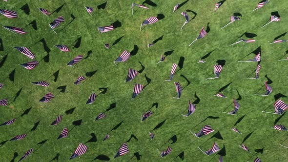 Top down view of American Flags waving