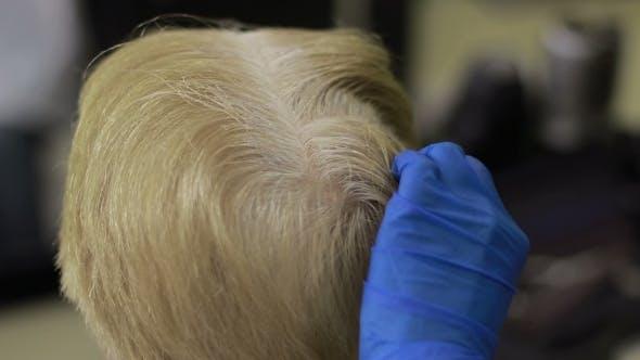 Hairdresser Applying Hair Dye on Female Hair