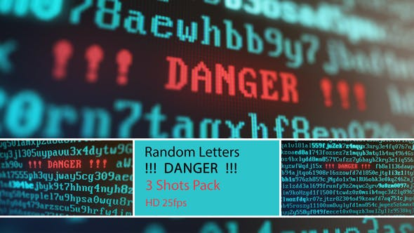 Random Letters and Numbers - DANGER on a Computer Screen