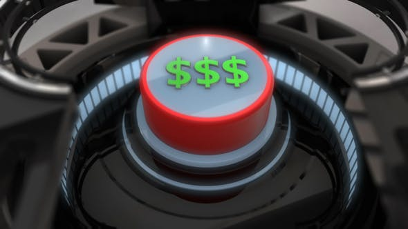 Thumbnail for 3D Red $ Dollar Button Pressed and Glowing