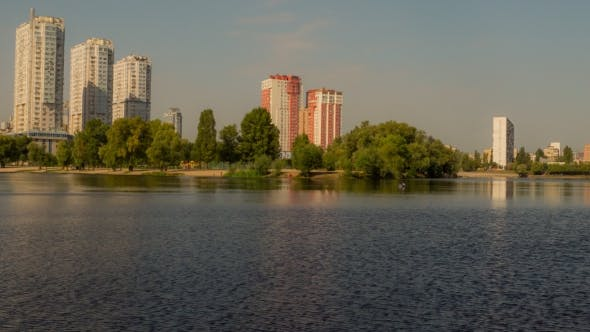 Thumbnail for Autumn Lake in the Background City.
