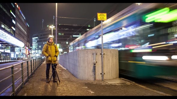 Thumbnail for Night Helsinki and Stocker Filming Busy City
