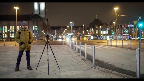 Thumbnail for Night Street with Man Shooting Video. Helsinki, Finland